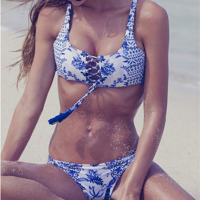 Gorgeous Women Swimwear Bikini Tassel Print