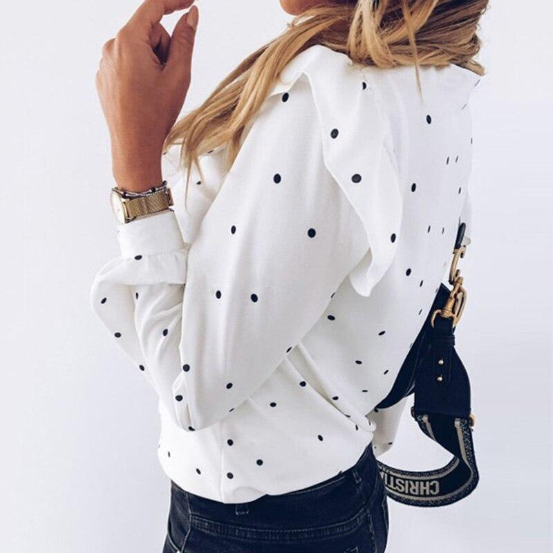 Polka Dot Ruffle Blouse Shirt Elegant Tops