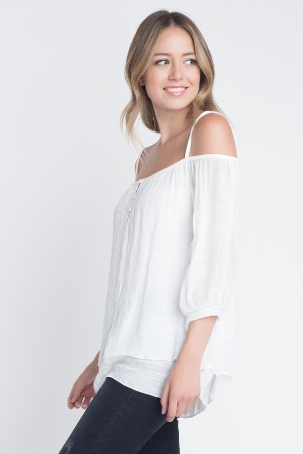 Women's 3/4 Sleeve Cold Shoulder Buttoned Top