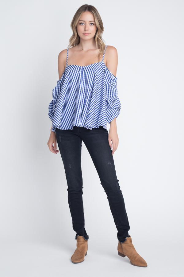 Women's Cold Shoulder Checkered Top