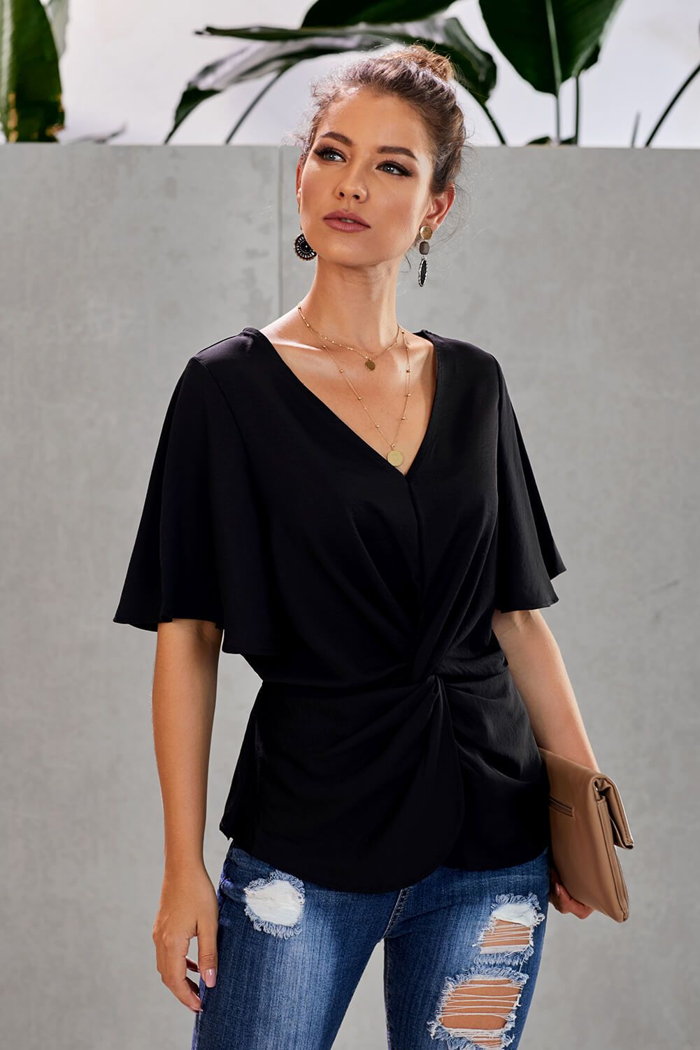 Black V-Neck Bell Sleeve Twist Pleated Office Blouse