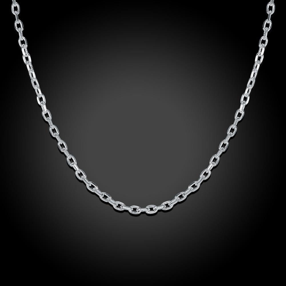 2mm Cable Chain Necklace in 18K White Gold Plated