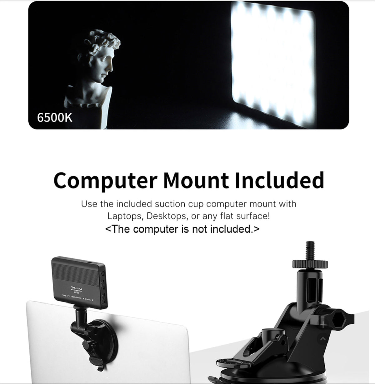 Video Conference Lighting Kit with 3200K-6500K LED Video Light/ Suction Cup/Silicon Cover/Cold Shoe Mount Adapter/Color Filters