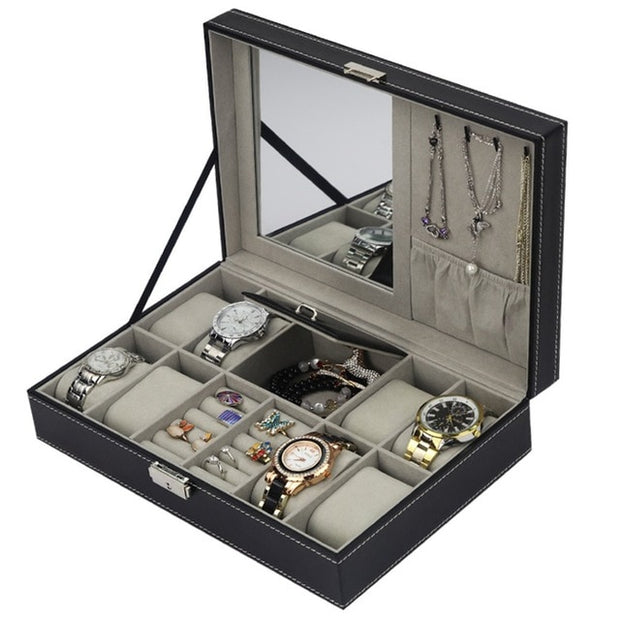 PU Leather Watch Box Jewelry Case Multifunctional