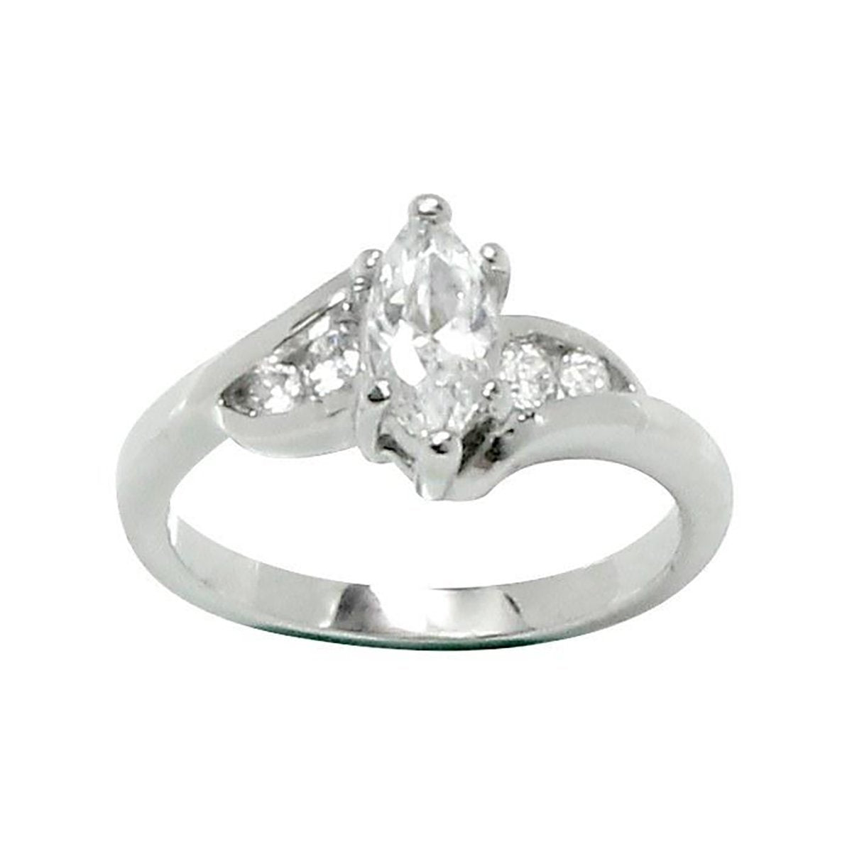 Marquise Cut 6-Prong Set Offset Tiny Stones Ring