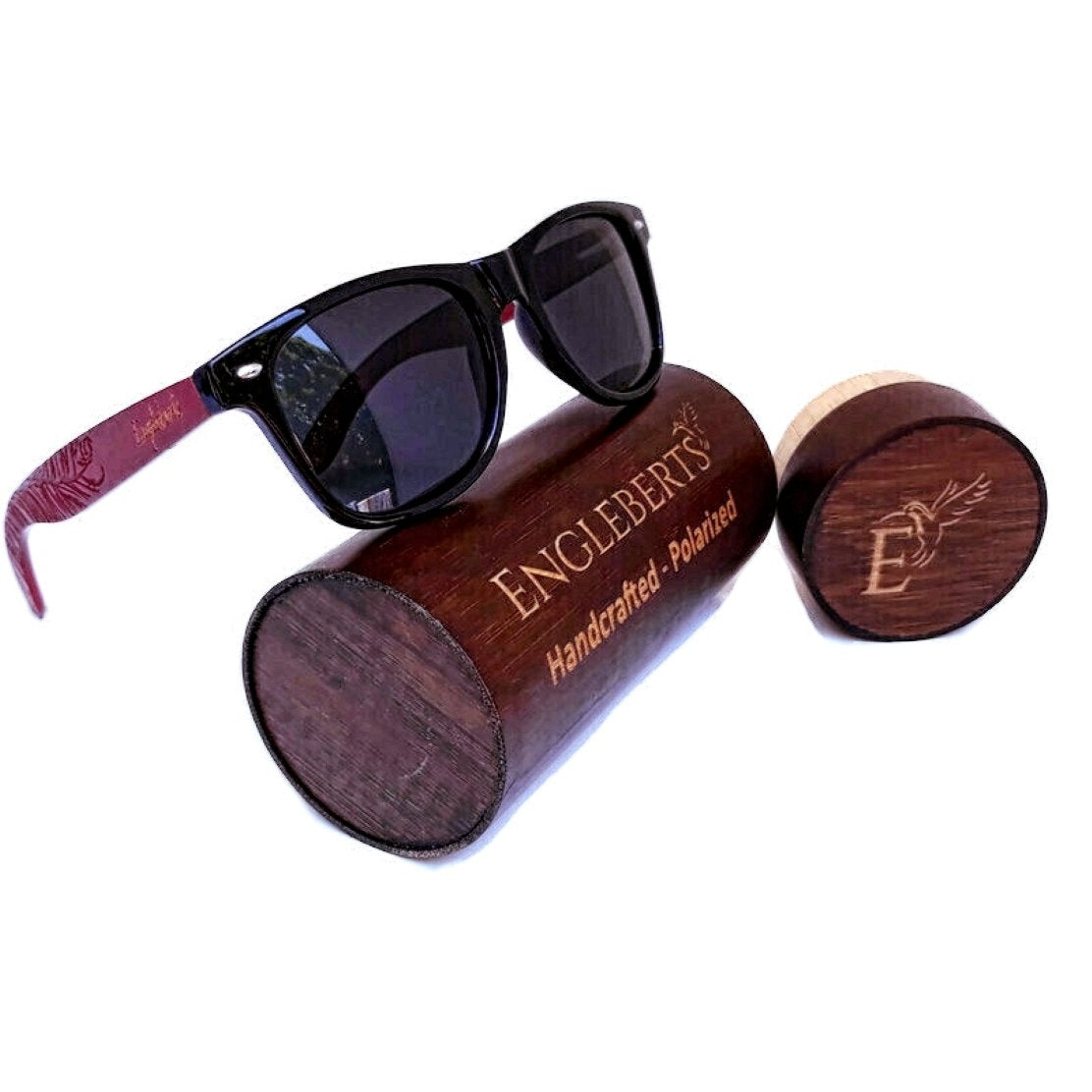 Rosewood Sunglasses With Wood Case, Polarized, Artisan Engraved,