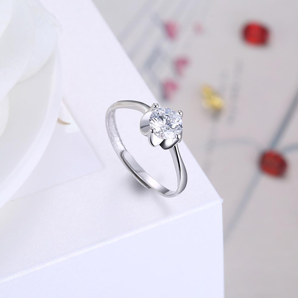 Sterling Silver Adjustable Ring with Swarovski Crystals