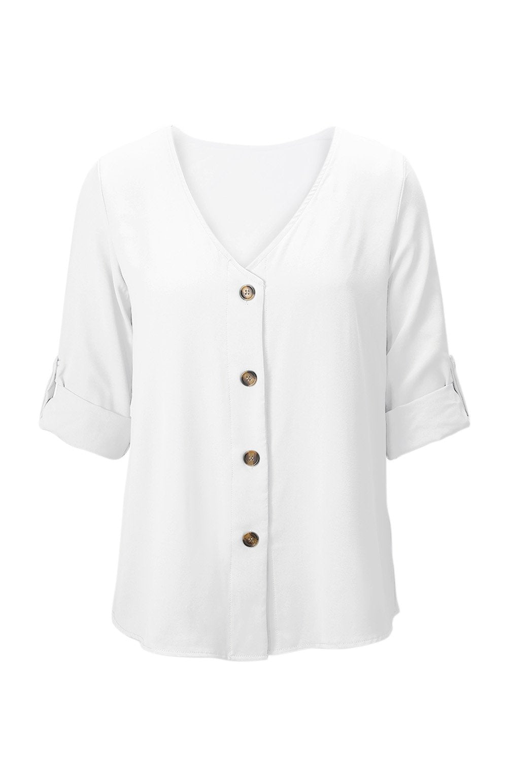 White Button Detail Roll up Long Sleeve Blouse