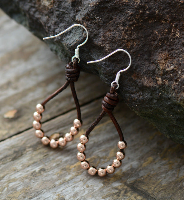 Womens Earrings Vintage Leather Silver Color Beads