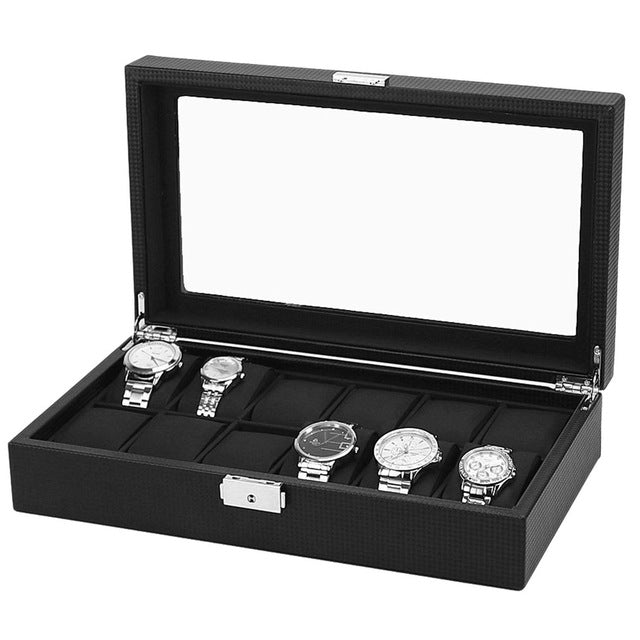 Wristwatch Holder 12 Grids Watch Box Black Carbon