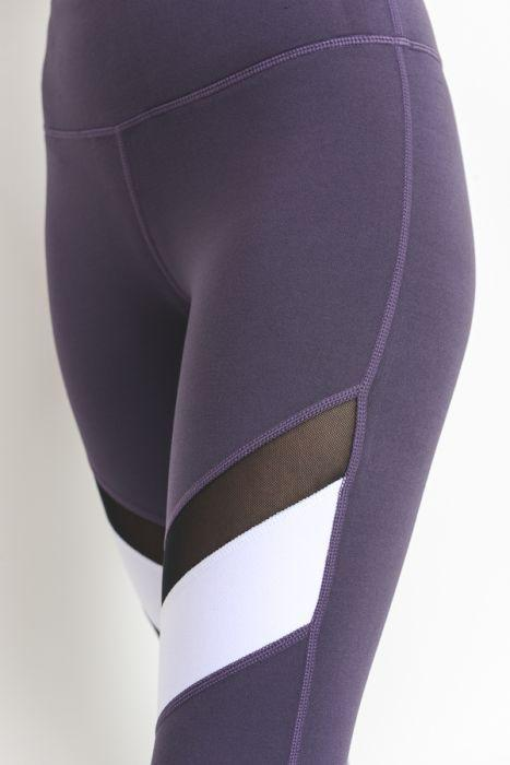 Colorblock Mesh Full Leggings - Dark Violet