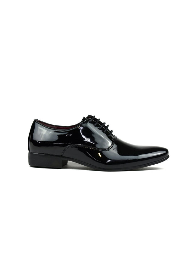 Men's Smooth and Slim Lace Up Formal Shoes Black Shiny