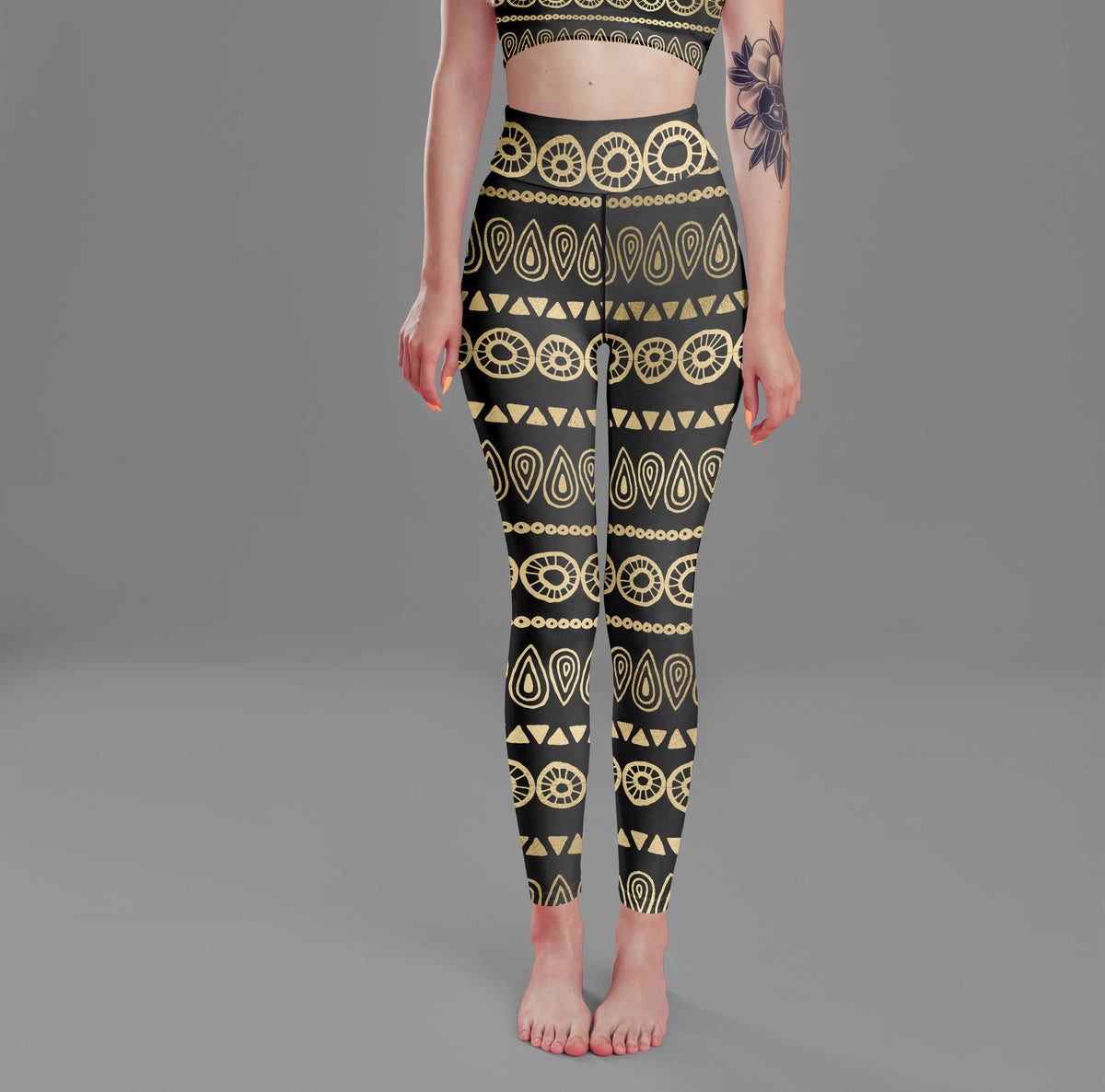 High Waist Black Gold Boho Leggings