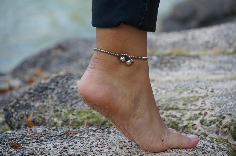 Turquoise Band Boho Silver Anklet