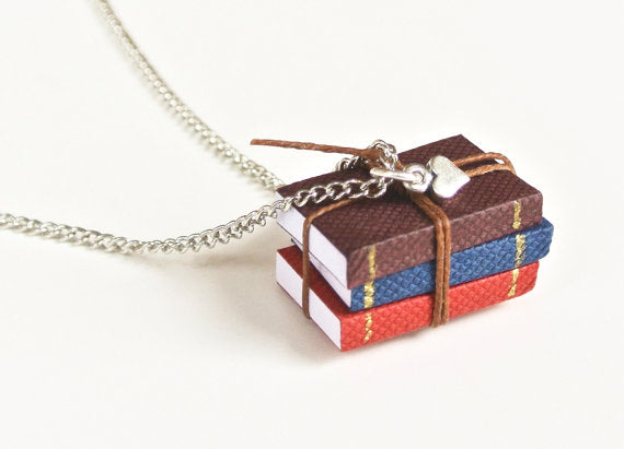 Miniature Book Necklace, Book Pendant, Book