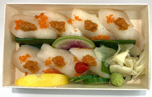 Load image into Gallery viewer, 宮城県産帆立貝柱の蒸し雲丹添え寿司 7貫(Scallop with steamed sea Urchin on top)