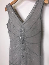 Load image into Gallery viewer, UNIQUE VINTAGE- SLIVER FLAPPER DRESS- SMALL