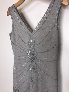 UNIQUE VINTAGE- SLIVER FLAPPER DRESS- SMALL
