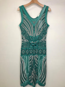UNIQUE VINTAGE- TEAL & SILVER FLAPPER DRESS- LARGE