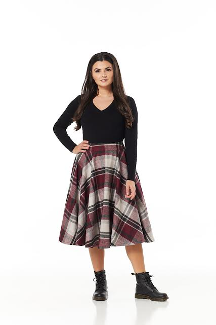 TIMELESS- BURGUNDY PLAID SWING SKIRT