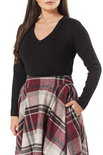 Load image into Gallery viewer, TIMELESS- BURGUNDY PLAID SWING SKIRT