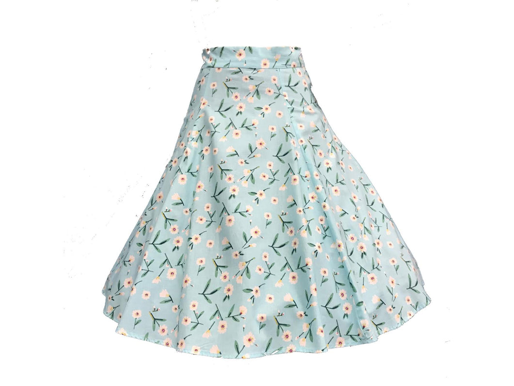 HEART OF HAUTE-BLUE FLORAL CIRCLE SKIRT