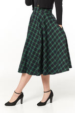 Load image into Gallery viewer, TIMELESS- GREEN AND BLUE PLAID SWING SKIRT
