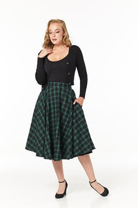 TIMELESS- GREEN AND BLUE PLAID SWING SKIRT