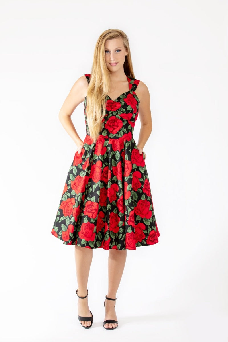 EVA ROSE- RED ROSE SWING DRESS