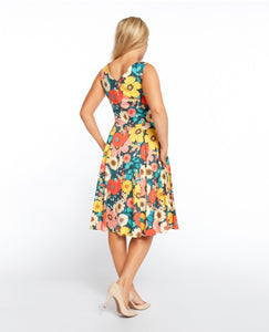 EVA ROSE- RETRO FLOWERS V-NECK SWING