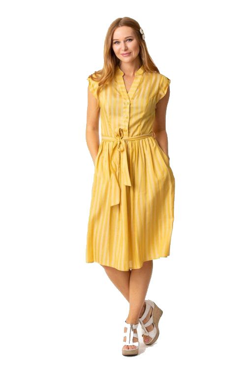 EVA ROSE- YELLOW STRIPE DRESS