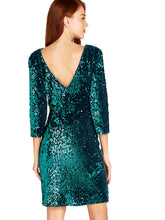 Load image into Gallery viewer, APRICOT- SEQUIN GREEN DRESS