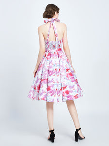 MISS LULO- PRETTY IN PINK HALTER SWING DRESS