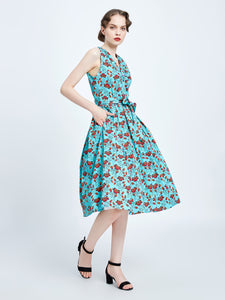 MISS LULO- TURQUOISE SWING DRESS