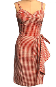 PINKY PINUPS- RED GINGHAM SARONG DRESS