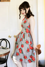 Load image into Gallery viewer, RETROLICIOUS- 1950s STRIPES AND ROSES DRESS