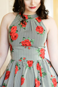 RETROLICIOUS- 1950s STRIPES AND ROSES DRESS