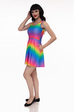 Load image into Gallery viewer, RETROLICIOUS RAINBOW SKATER DRESS