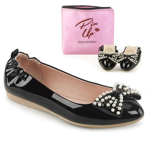 PIN UP COUTURE- IVY BLACK PAT FLATS