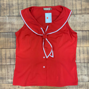 RELOVED- SAILOR TOP RED- X LARGE