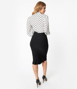 UNIQUE VINTAGE- BLACK TRACY WIGGLE SKIRT