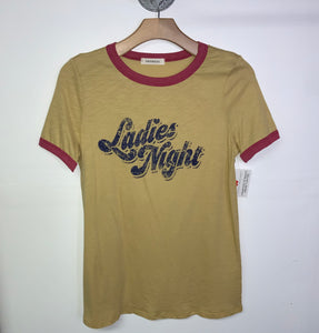 LADIES NIGHT- MUSTARD RINGER TEE