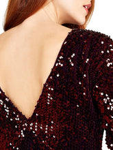 Load image into Gallery viewer, APRICOT- SEQUIN BURGUNDY DRESS