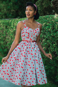 STOP STARING- CHERRY STRIPE SUNDRESS