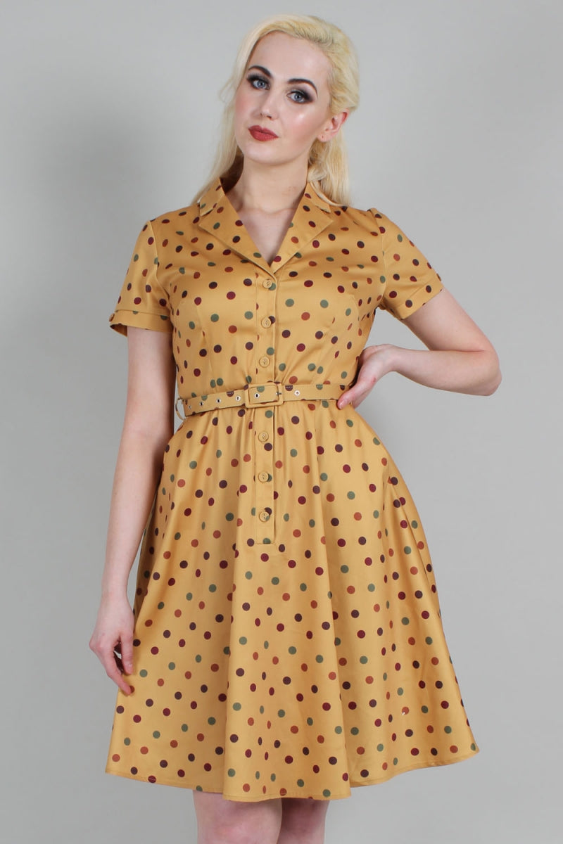 VOODOO VIXEN- DIANA MUSTARD DOT DRESS