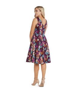 EVA ROSE- PLUM DAISY FIT & FLARE