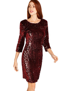 APRICOT- SEQUIN BURGUNDY DRESS