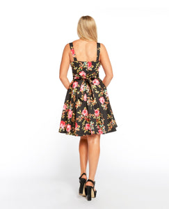 EVA ROSE- BLACK ROSE PRINT FIT & FLARE