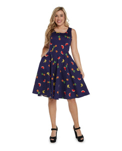 EVA ROSE- NAVY FRUIT FIT & FLARE DRESS