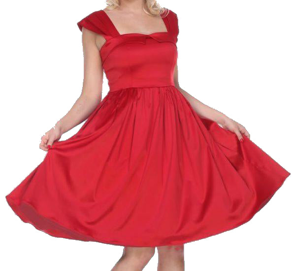 BETTIE PAGE- RED PATRICIA FIT AND FLARE DRESS